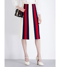 Gucci Striped Wool And Silk Blend Midi Skirt Cream Red Blue