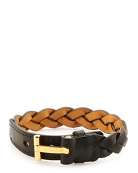 Tom Ford Nashville Men's Braided Leather Bracelet Black