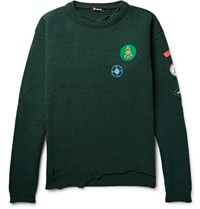 Raf Simons Appliqued Distressed Ribbed Virgin Wool Sweater Green