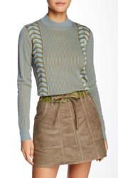 Anna Sui Mid Century Ribbed Wool Blend Sweater Blue