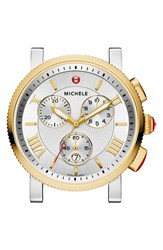 Michele Women's 'Sport Sail Large' Black Dial Watch Case 42Mm Silver Gold