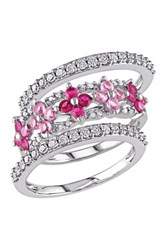 10K White Gold White Diamond Created Ruby And Created Pink Sapphire Flower Ring Set