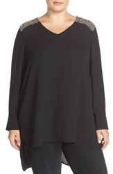 Plus Size Women's Melissa Mccarthy Seven7 Crystal Shoulder Tunic Top Black Combo