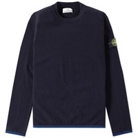Stone Island Logo Patch Crew Knit Blue