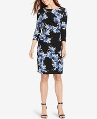 American Living Floral Print Jersey Dress Black Blue