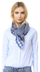 Marc Jacobs Pop Bouque On Gingham Stole Scarf Country Blue Multi
