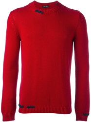 Roberto Collina Stitch Detail Knitted Sweater Red