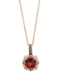 Le Vian Petite Collection Garnet 1 1 6 Ct. T.W. And Chocolate Diamond 1 4 Ct. T.W. Pendant Necklace In 14K Rose Gold