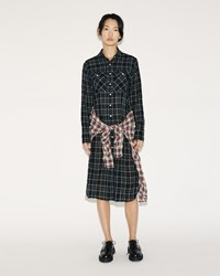 R 13 Grunge Dress Black Ecru Plaid