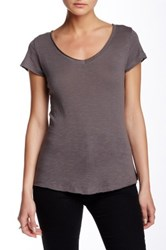 14Th And Union Short Sleeve V Neck Tee Petite Gray