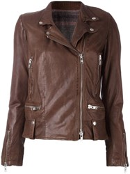 S.W.O.R.D 6.6.44 Zipped Leather Jacket Brown