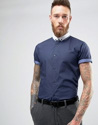 New Look Roll Sleeve Smart Shirt With Contrast Collar In Navy In Regular Fit Navy
