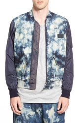 Prps 'Auriga' Bleached Denim And Nylon Bomber Jacket Enzyme Blue