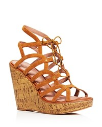 Joie Larissa Caged Lace Up Platform Wedge Sandals 100 Bloomingdale's Exclusive Cuoio