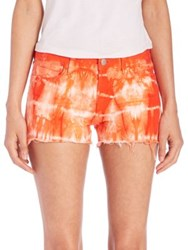 J Brand Low Rise Photo Ready Tie Dye Cut Off Shorts Tied Cherry Tomato