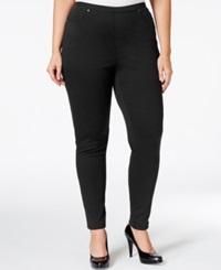 Style And Co. Plus Size Pull On Twill Leggings Only At Macy's Deep Black