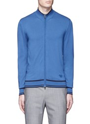 Armani Collezioni Eagle Logo Patch Knit Jacket Blue