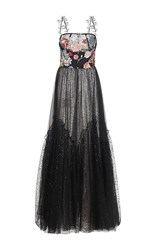Sandra Mansour Etoile Filante Printed Tulle Brocade Embroidered Long Dress Black