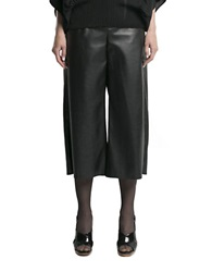 Pink Tartan Faux Leather Gaucho Pants Black