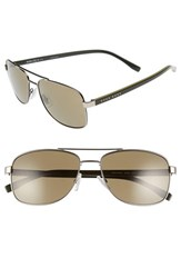 Boss Men's '0762 S' 58Mm Polarized Navigator Sunglasses Matte Ruthenium Khaki