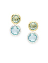Gurhan Blue Topaz Gold And Silver Drop Earrings Silver Gold