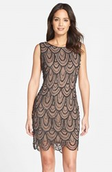 Women's Pisarro Nights Embellished Mesh Cocktail Dress Oyster