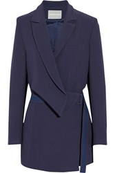 Richard Nicoll Wrap Effect Crepe Blazer Blue