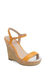 Women's Charles By Charles David 'Arizona' Espadrille Wedge Orange Leather