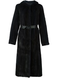 Yves Salomon Hooded Fur Coat Blue