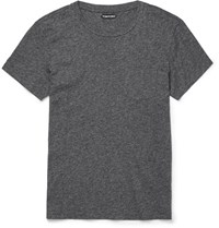 Tom Ford Melange Cotton Jersey T Shirt Charcoal