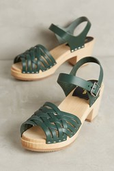 Anthropologie Swedish Hasbeens Braided Open Toe Clogs Green