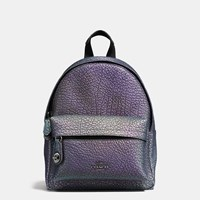 Coach Mini Campus Backpack In Hologram Leather Dark Gunmetal Hologram