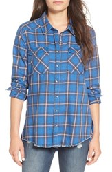 Billabong Women's Plaid Flannel Shirt Saphire Blue