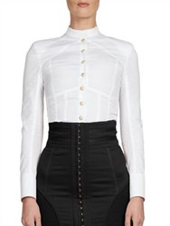 Balmain Long Sleeve Corset Blouse White