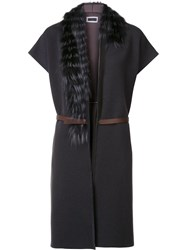 Fabiana Filippi Fur Collar Belted Cape Grey