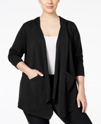 Styleandco. Style Co. Plus Size Open Front Hooded Cardigan Only At Macy's Deep Black