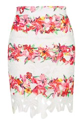 Floral Printed Crochet Mini Skirt By Rare Pink