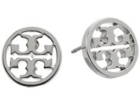 Tory Burch Logo Circle Stud Earrings Tory Silver