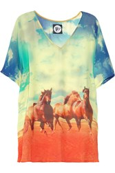 We Are Handsome The Mustang Printed Silk Chiffon Tunic Blue