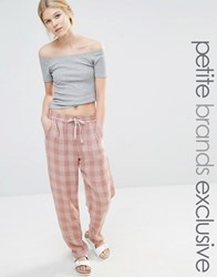 One Day Petite Gingham Jogger Blush Pink