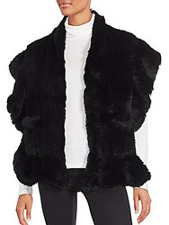 Saks Fifth Avenue Solid Rabbit Fur Shawl Black