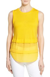 Women's Michael Michael Kors Mixed Media Sleeveless Top Sunflower