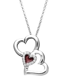 Treasured Hearts Diamond Heart Pendant Sterling Silver Diamond 1 10 Ct. T.W. Three Heart Enamel Pendant 1 10 Ct. T.W.