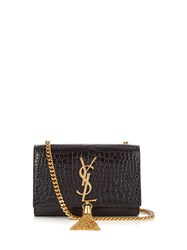 Saint Laurent Kate Small Crocodile Effect Leather Shoulder Bag Black