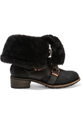 Australia Luxe Collective Eastsider Shearling Lined Croc Effect Pony Hair And Suede Boots Black