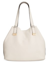 Calvin Klein Pebble Leather Tote With Pouch White