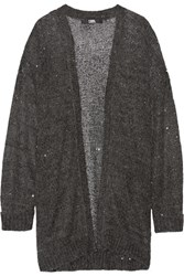 Karl Lagerfeld Sequin Embellished Knitted Cardigan Charcoal