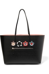 Fendi Roll Top Embellished Floral Appliqued Textured Leather Tote Black