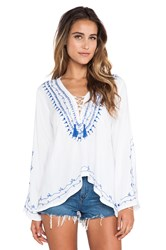 Surf Gypsy Embroidered Hi Lo Tunic White