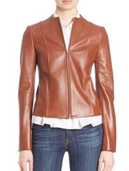 Theory Ozzane Wilmore Leather Jacket Classic Brown